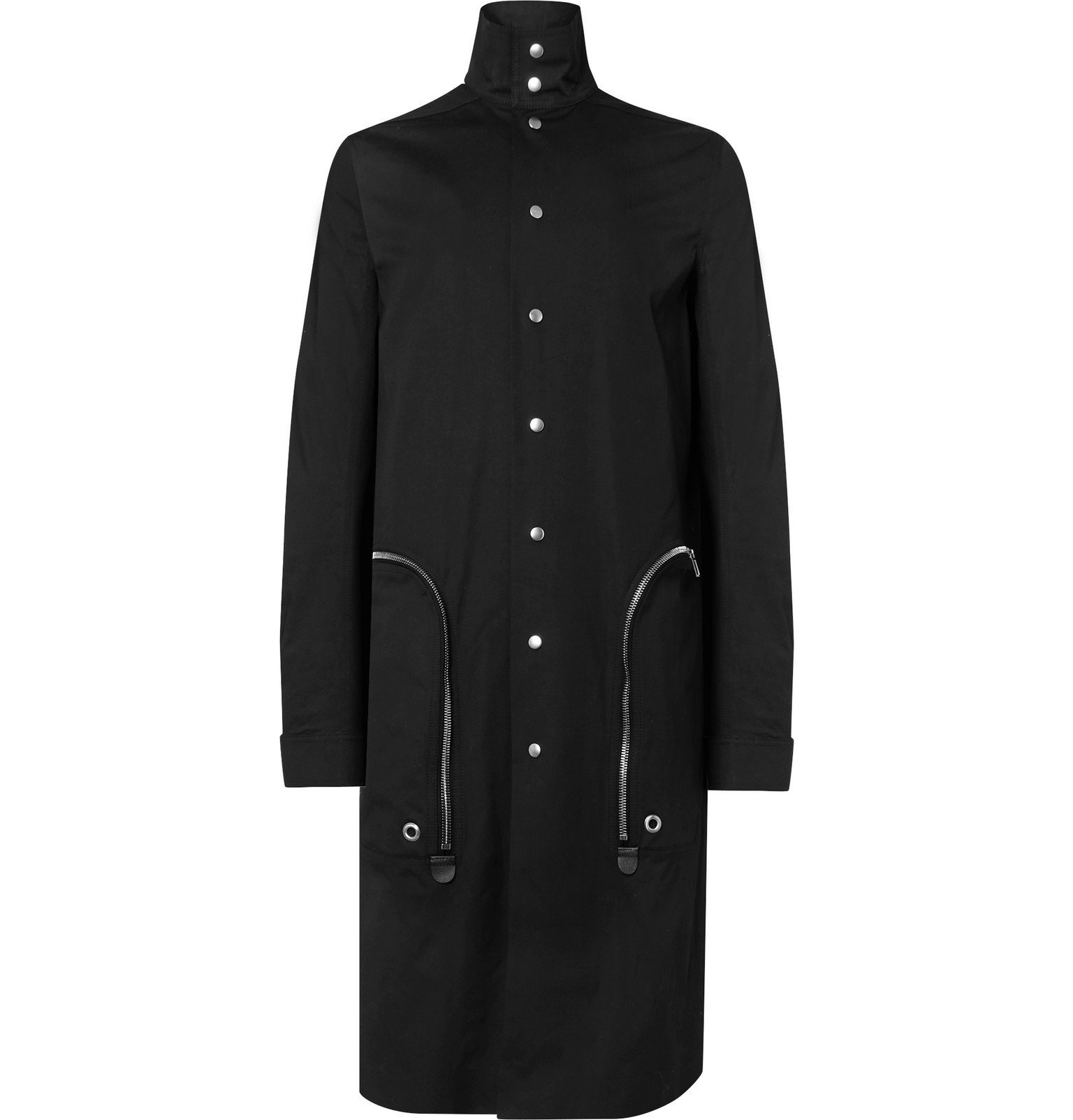 Photo: Rick Owens - Leather-Trimmed Cotton-Blend Canvas Trench Coat - Black