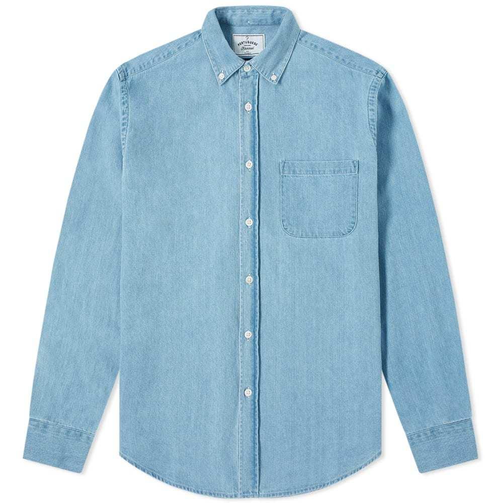 Photo: Portuguese Flannel Button Down Denim Shirt