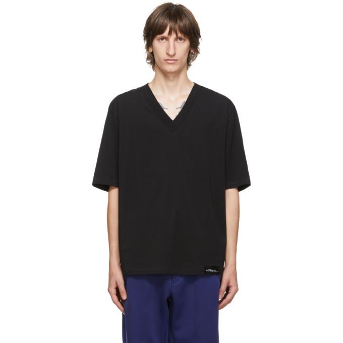 Photo: 3.1 Phillip Lim Black Oversized Optic Boxy V-Neck T-Shirt