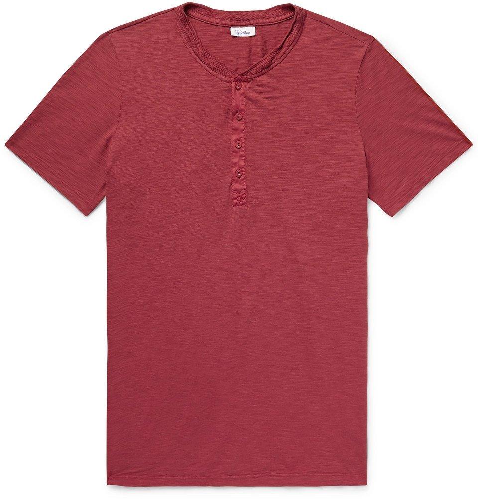 Schiesser - Hanno Slub Cotton-Jersey Henley T-Shirt - Men - Claret