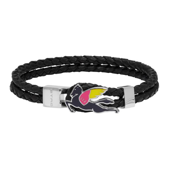 Photo: Etro Black Leather Pegaso Bracelet