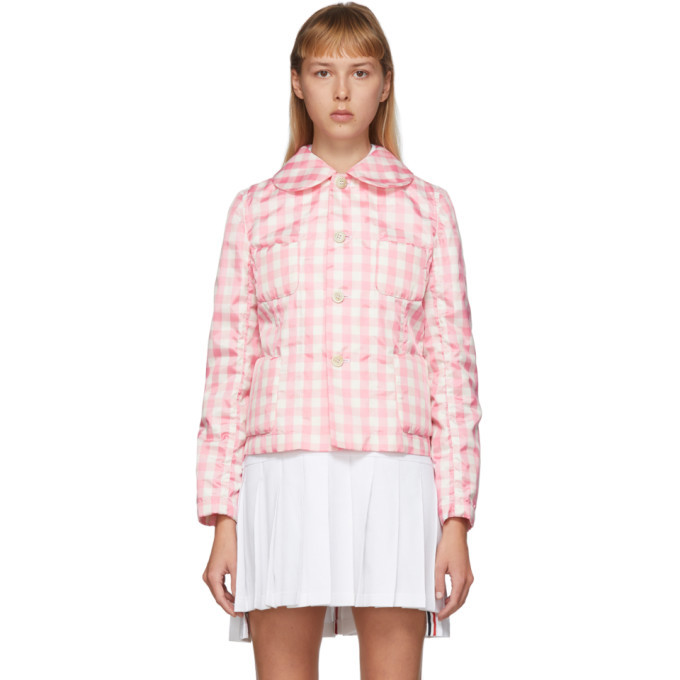 Photo: Comme des Garcons Girl Pink and White Check Peter Pan Collar Jacket