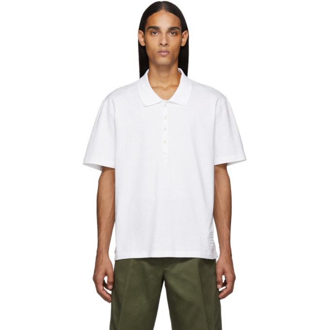 Photo: Thom Browne White Relaxed Fit Polo