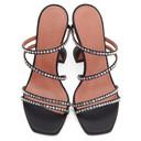 Amina Muaddi Black Satin Naima Crystal Heels
