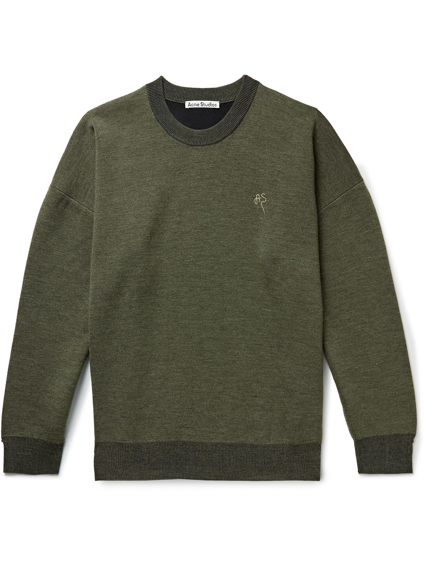 Photo: Acne Studios - Logo-Embroidered Wool-Blend Sweater - Green