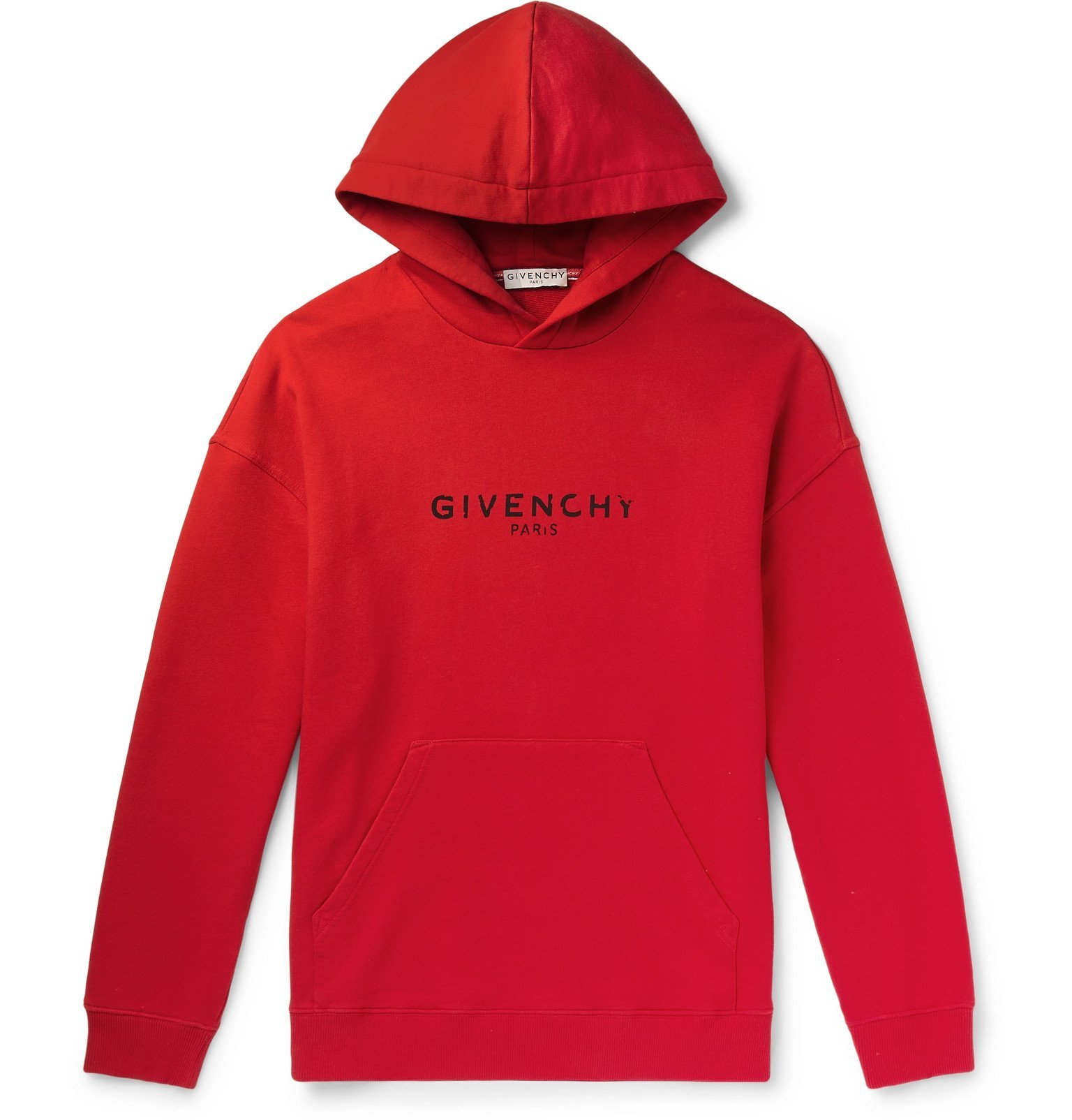 Photo: Givenchy - Logo-Print Loopback Cotton-Jersey Hoodie - Red