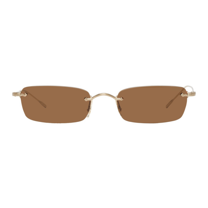 Oliver Peoples Gold and Brown Daveigh Sunglasses