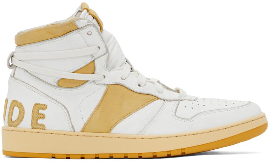 Photo: Rhude White & Yellow Rhecess Hi Sneakers