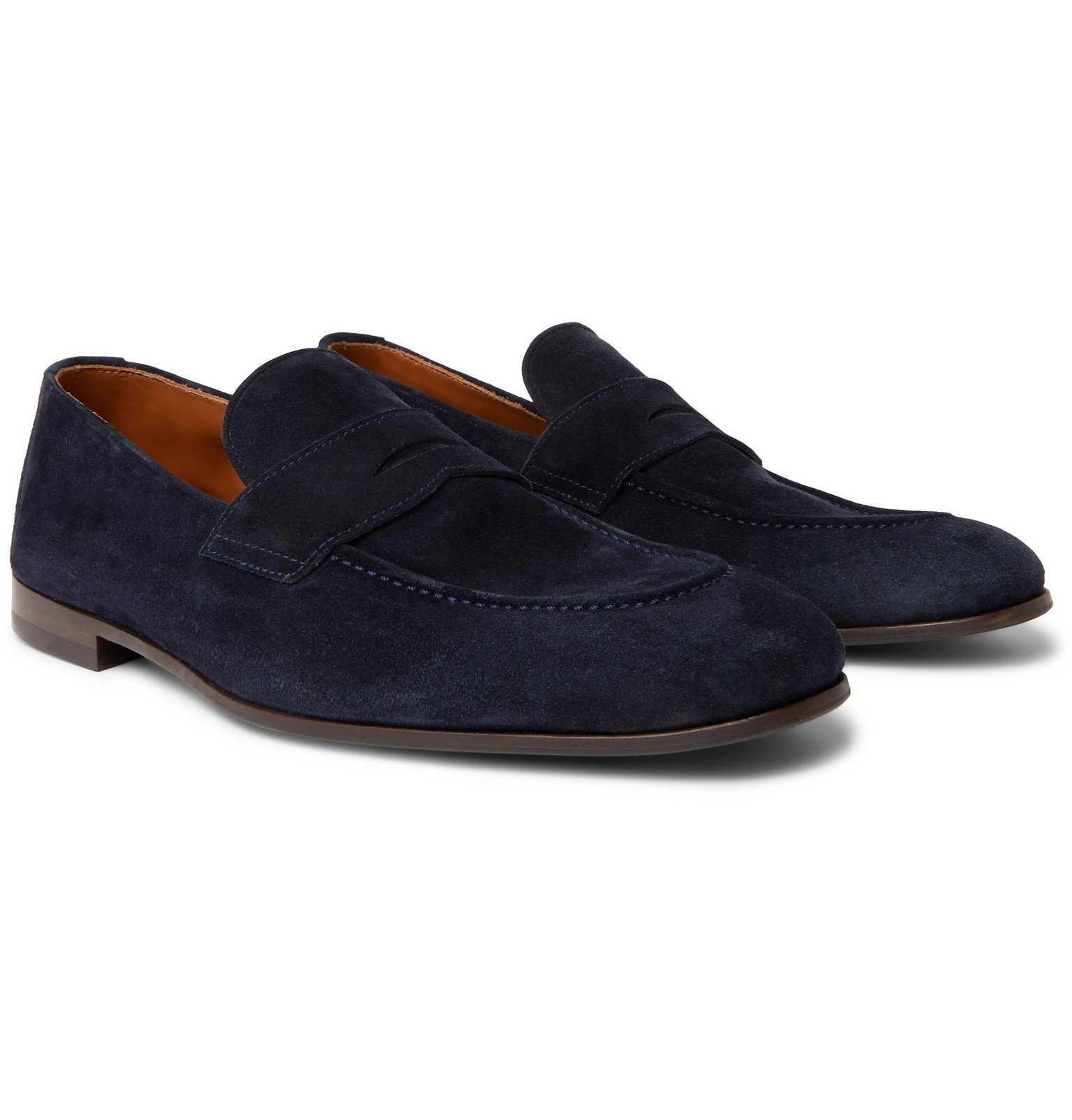Photo: Brunello Cucinelli - Suede Penny Loafers - Blue