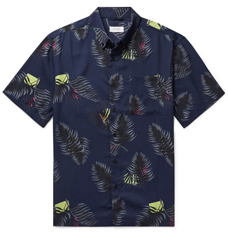 Photo: Saturdays NYC - Button-Down Collar Printed Lyocell Shirt - Navy