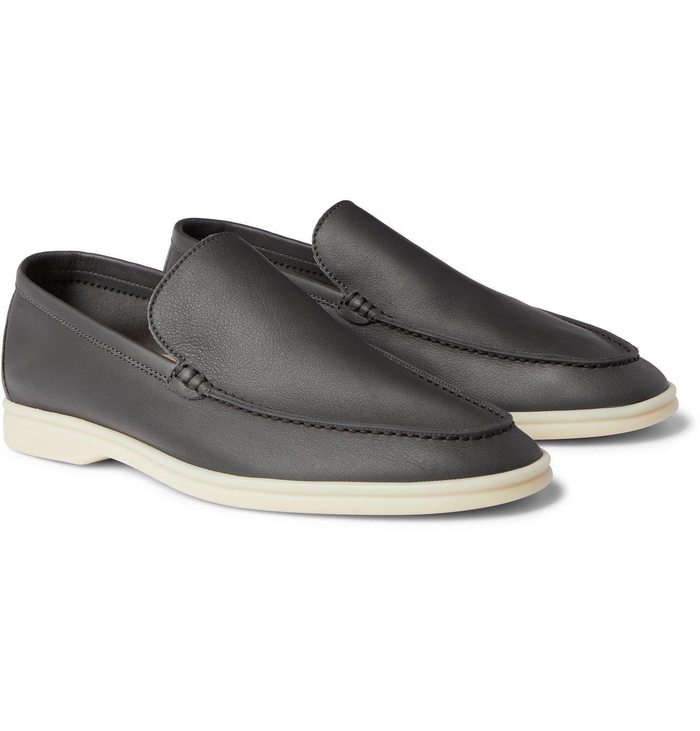 Photo: Loro Piana - Summer Walk Leather Loafers - Gray