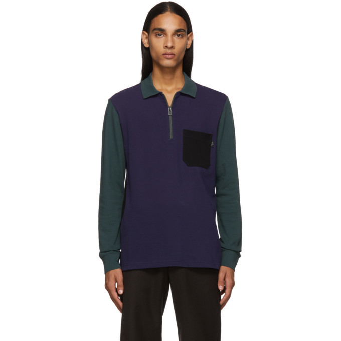 Photo: PS by Paul Smith Blue and Green Long Sleeve Polo