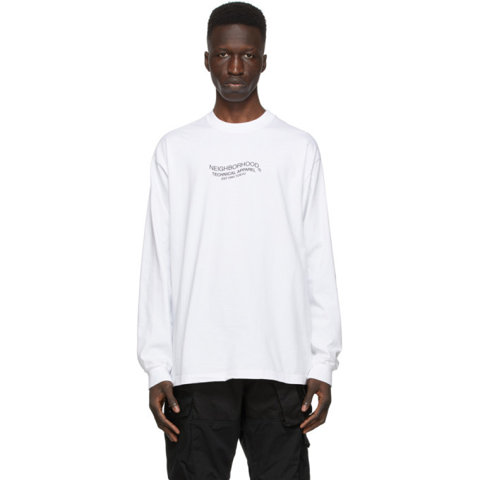 Photo: Neighborhood White Distortion-2 C Long Sleeve T-Shirt