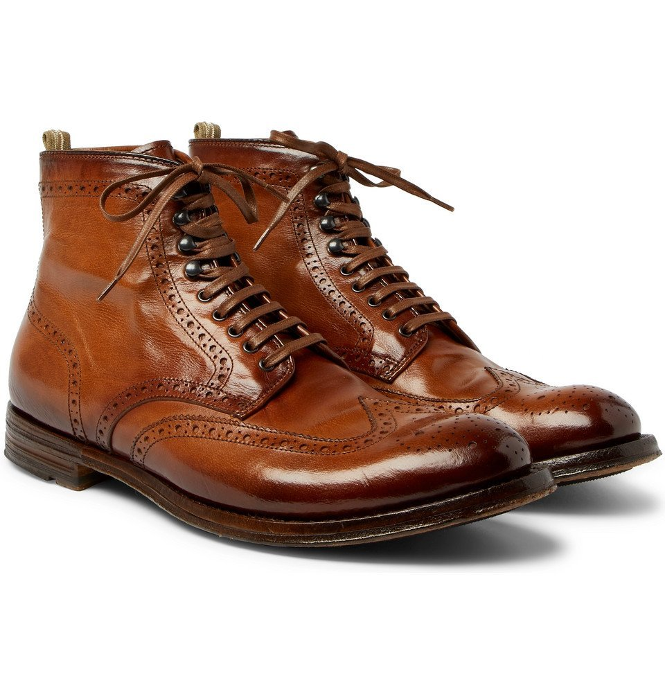 Photo: Officine Creative - Anatomia Burnished-Leather Brogue Boots - Men - Brown