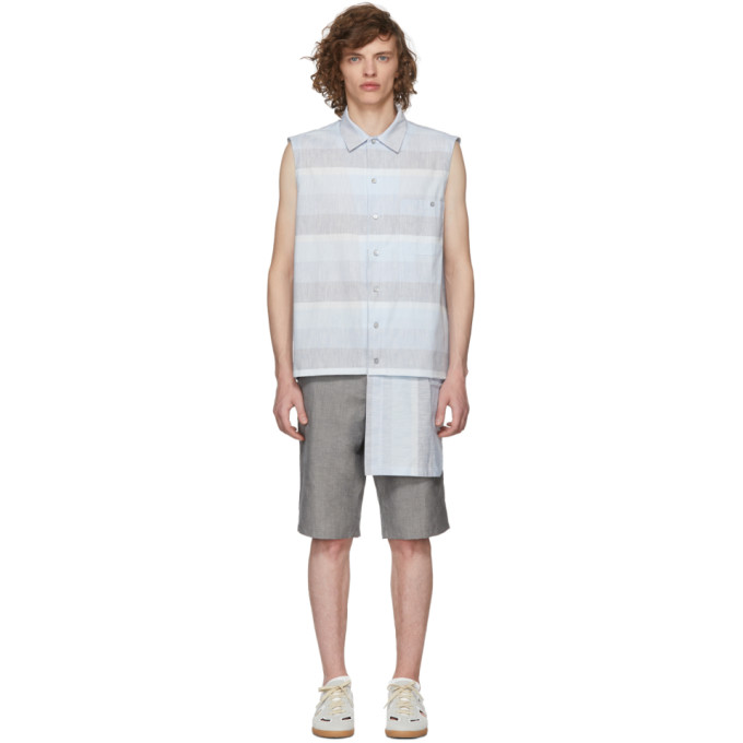 Photo: House of the Very Islands Blue Broad Stripe Sleeveless Button-Up Shirt