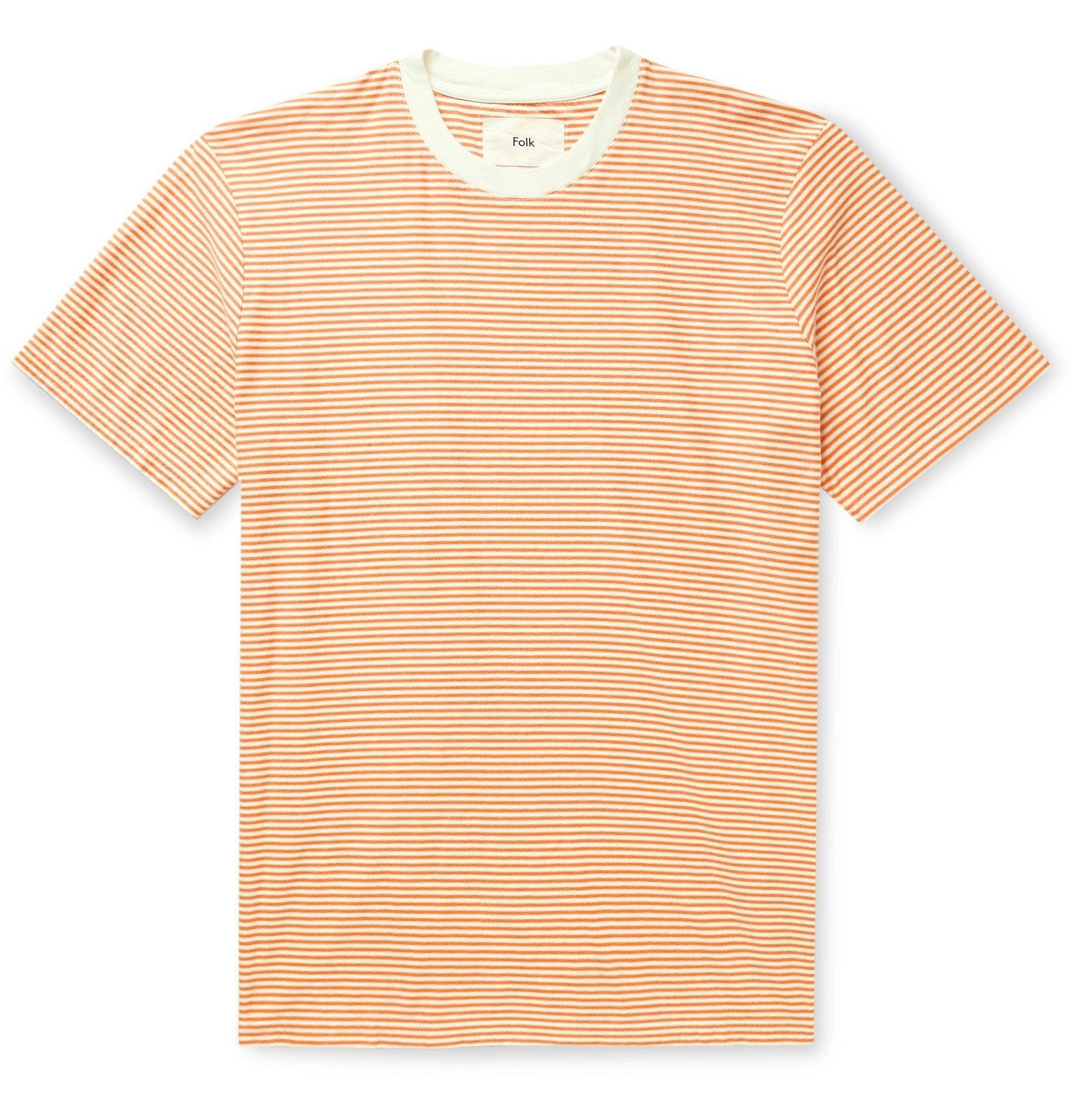 Photo: Folk - Striped Cotton-Jersey T-Shirt - Orange