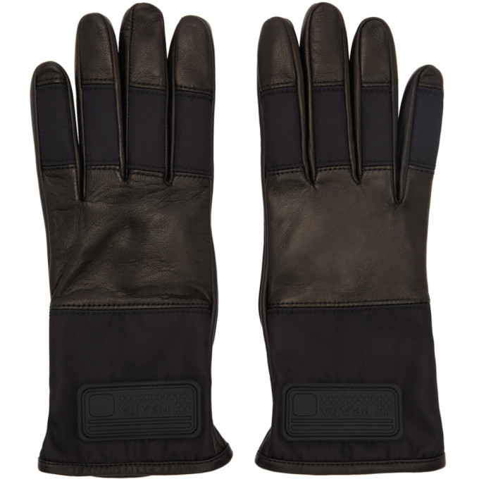 Photo: Prada Black Lambskin Logo Gloves