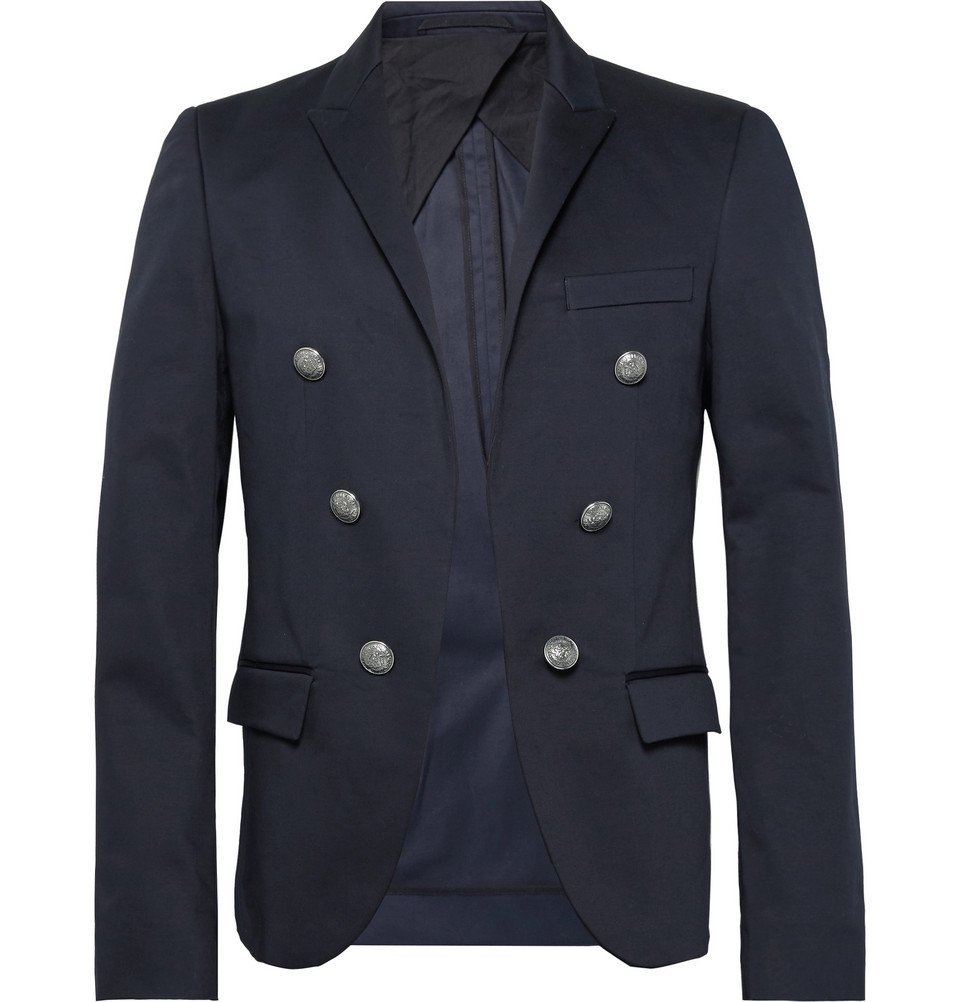 Photo: Balmain - Navy Slim-Fit Double-Breasted Cotton-Blend Blazer - Navy