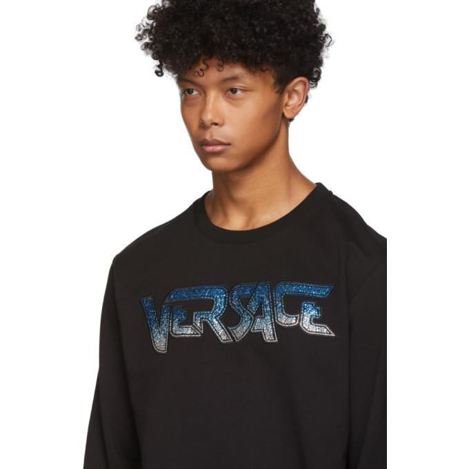 Versace Black Rhinestone Logo Sweatshirt