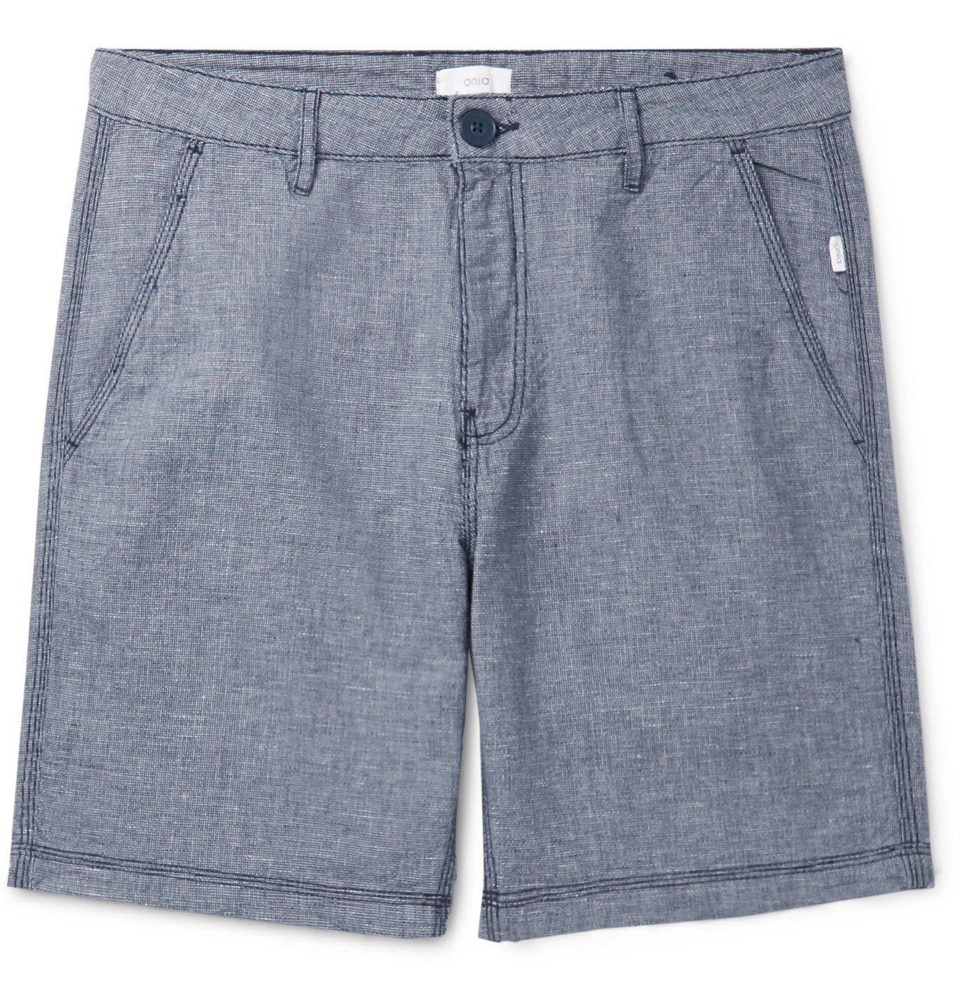 Photo: Onia - Austin Basketweave Linen and Cotton-Blend Shorts - Blue