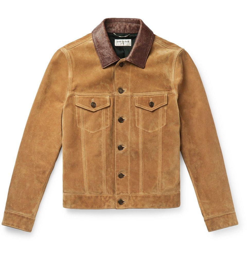 Photo: Saint Laurent - Leather-Trimmed Suede Trucker Jacket - Camel