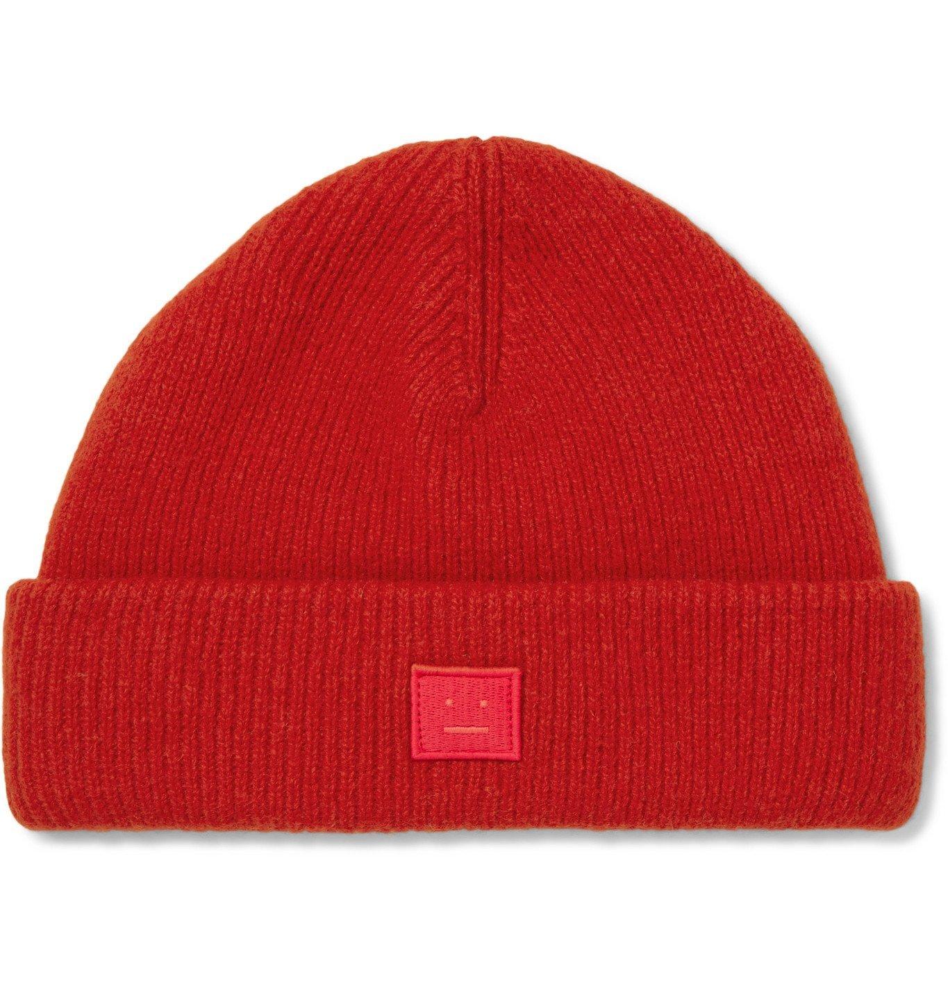Photo: Acne Studios - Logo-Appliquéd Wool-Blend Beanie - Red