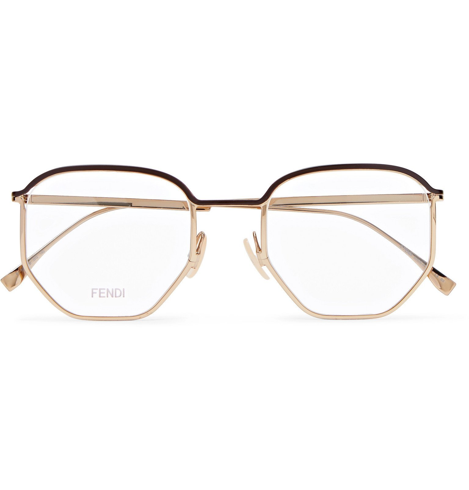 Photo: Fendi - Round-Frame Acetate-Trimmed Gold-Tone Metal Optical Glasses - Gold