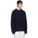 Raf Simons Navy Wool Cherry Honey Stitch Sweater