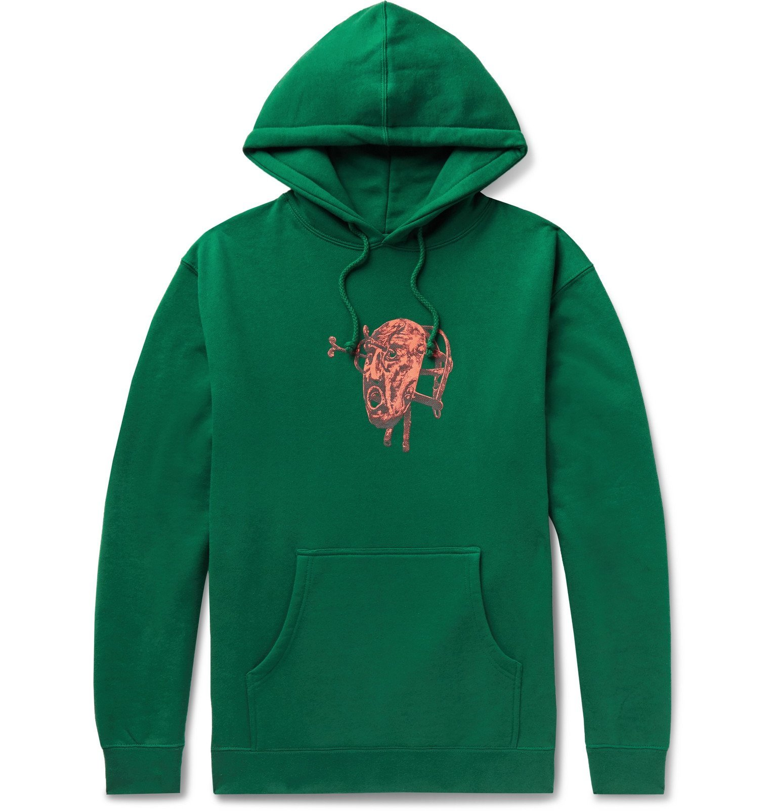 Photo: iggy - Printed Fleece-Back Cotton-Blend Jersey Hoodie - Green
