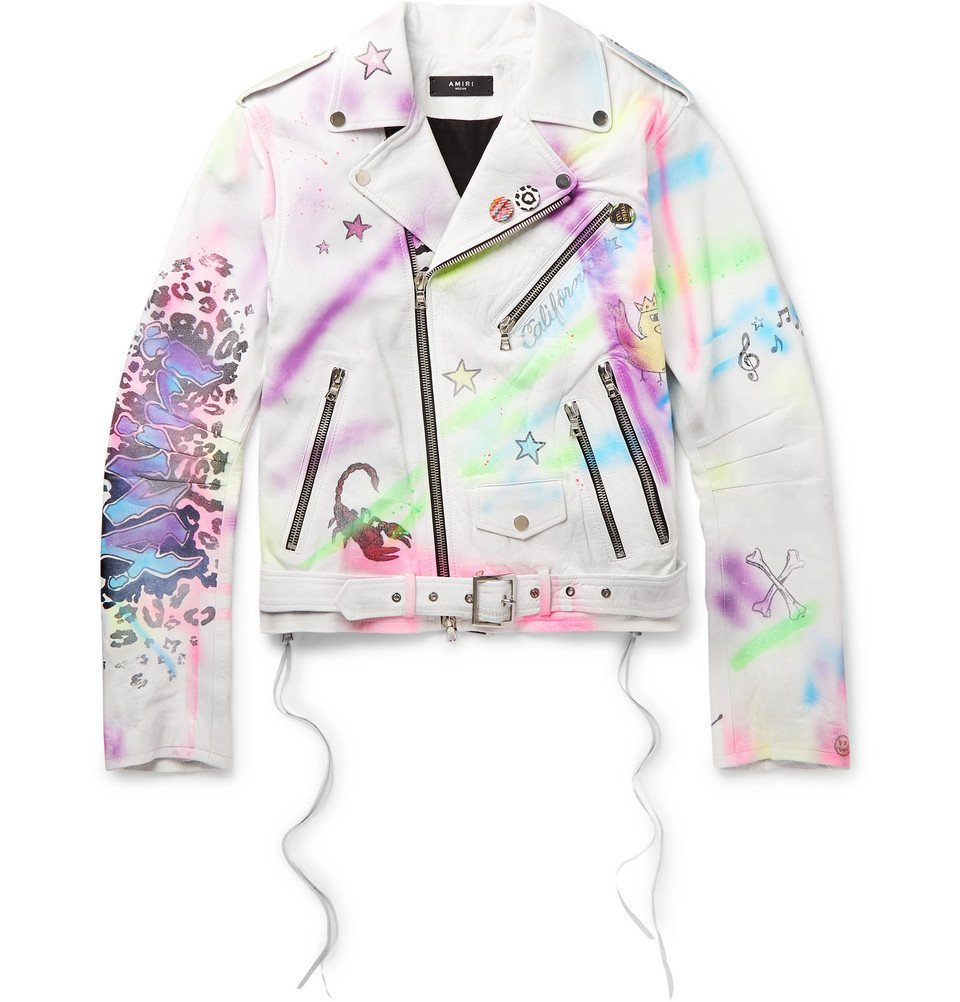 Photo: AMIRI - Graffiti Leather Biker Jacket - White