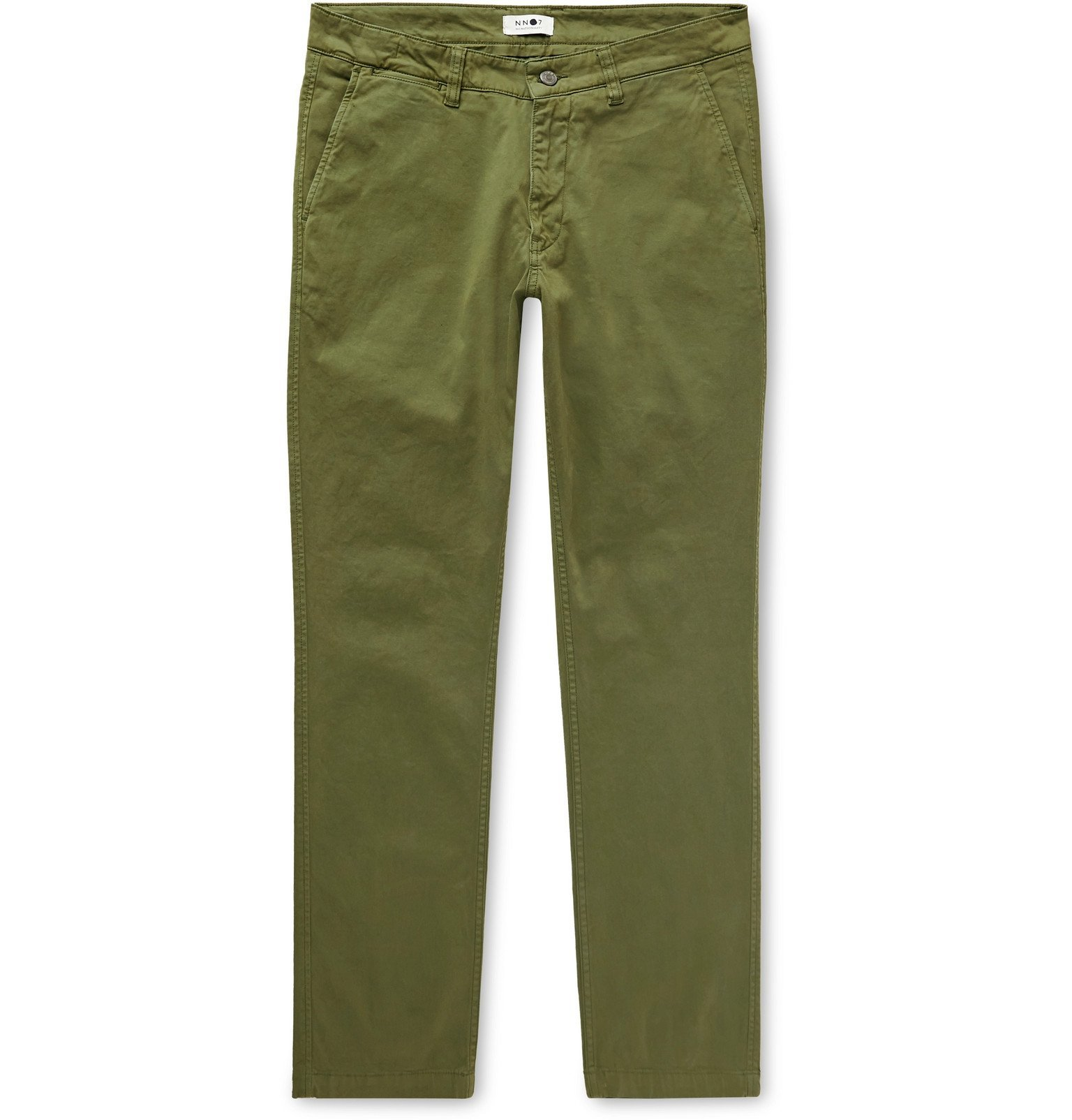 Photo: NN07 - Marco Slim-Fit Stretch-Cotton Twill Chinos - Green
