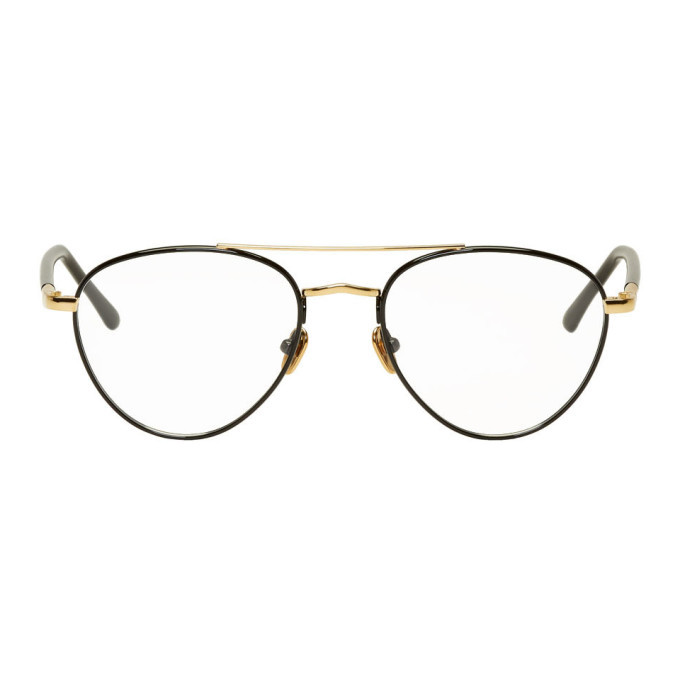Photo: Linda Farrow Luxe Gold and Black 954 C8 Aviator Glasses