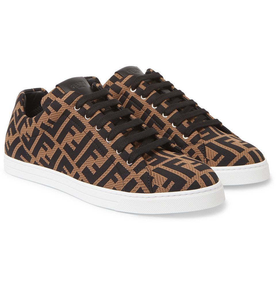 Photo: Fendi - Leather-Trimmed Logo-Jacquard Sneakers - Brown