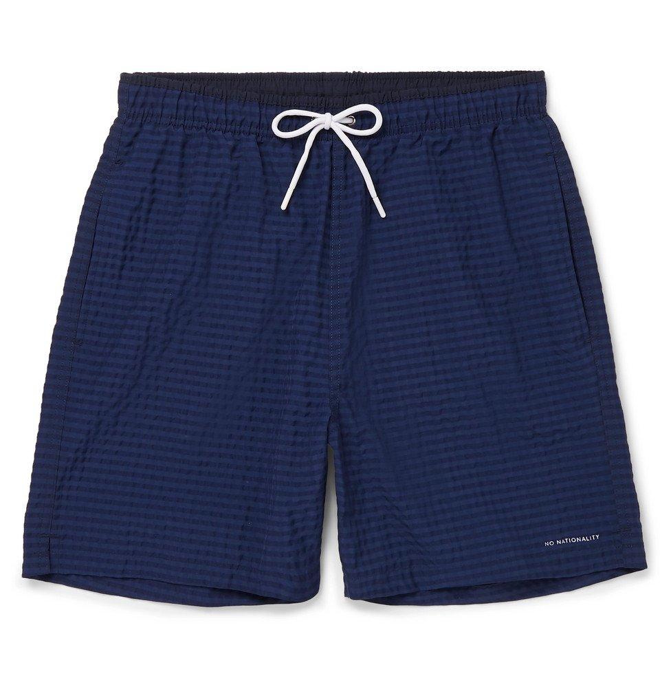 Photo: NN07 - Jules Mid-Length Striped Seersucker Swim Shorts - Navy