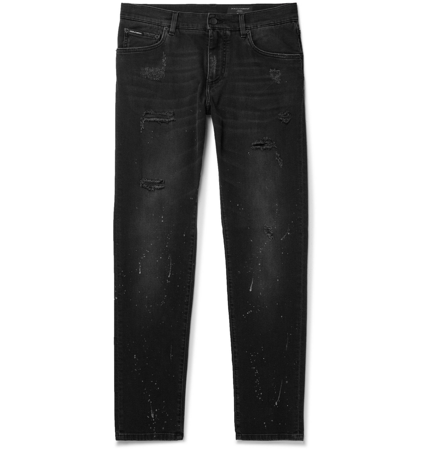 Photo: Dolce & Gabbana - Paint-Splattered Distressed Stretch-Denim Jeans - Black