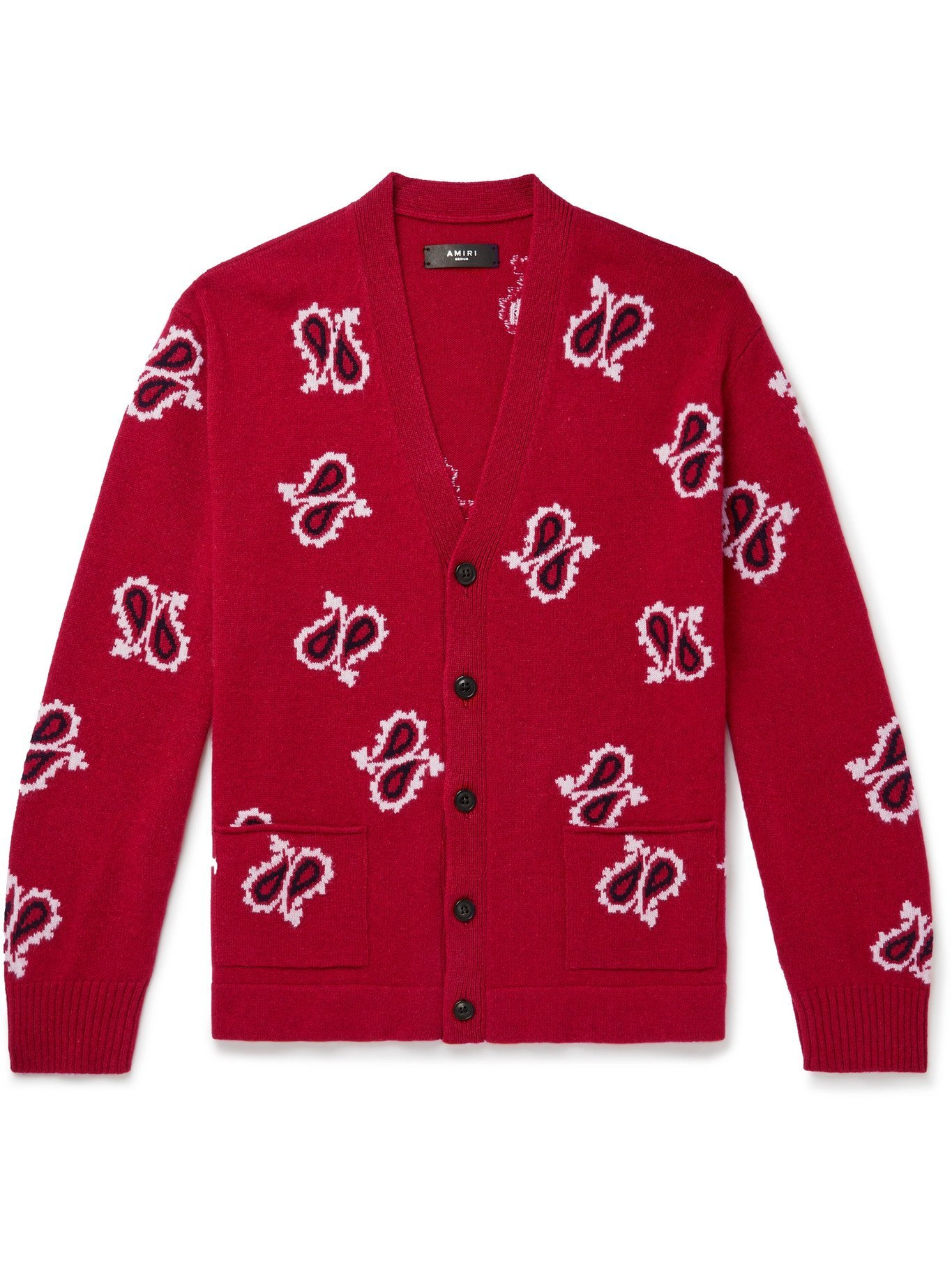 AMIRI - Paisley-Intarsia Cashmere and Wool-Blend Cardigan - Red