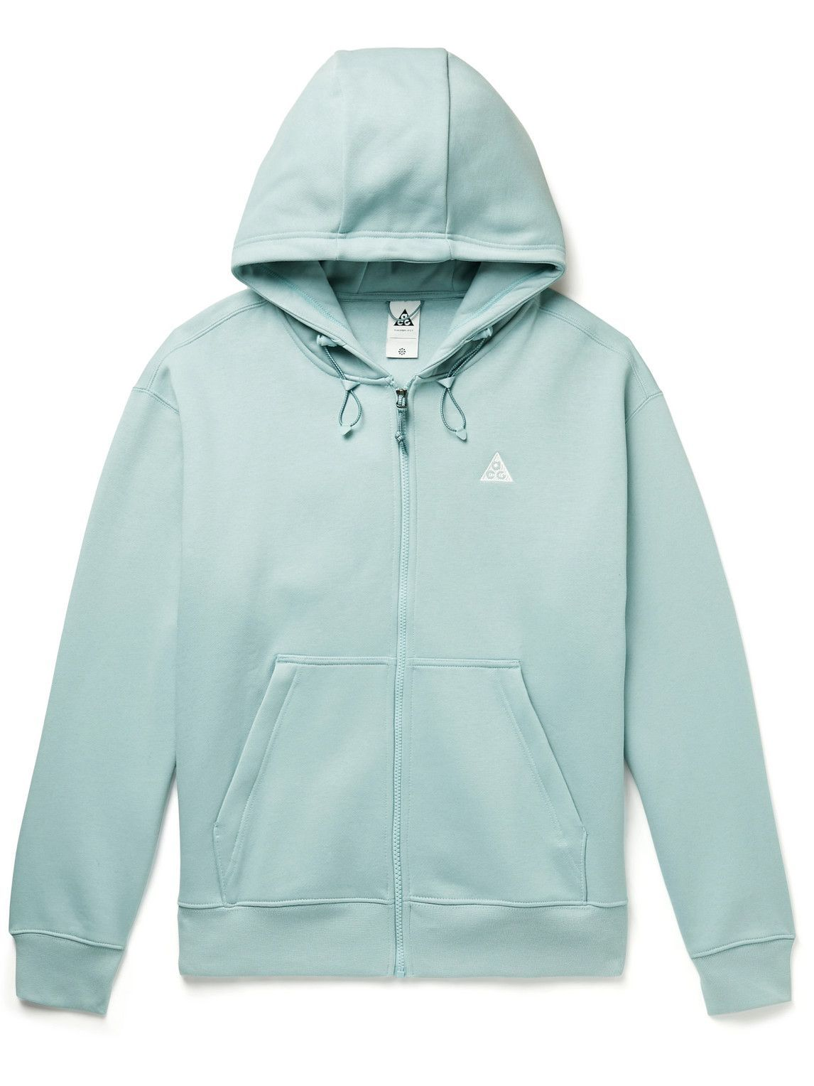 Photo: Nike - NRG ACG Logo-Embroidered Cotton-Blend Jersey Zip-Up Hoodie - Blue
