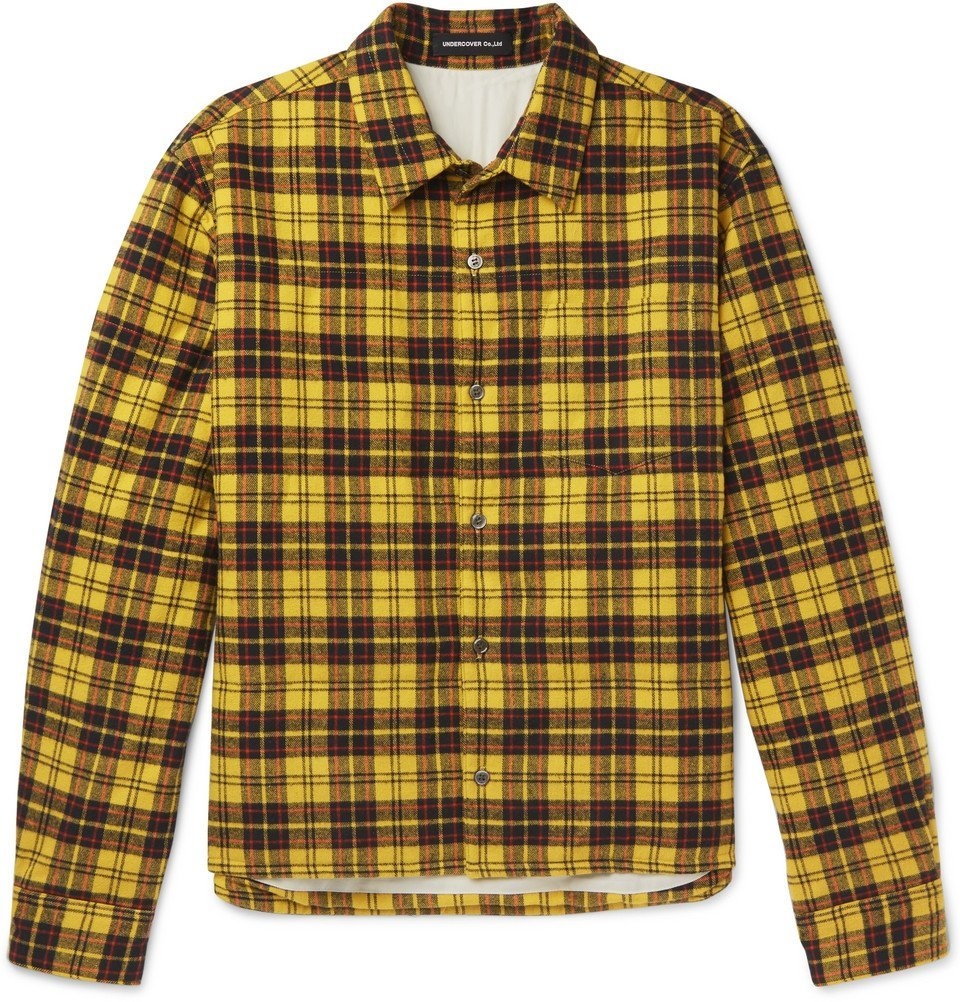 Photo: Undercover - Checked Cotton-Flannel Shirt - Men - Yellow