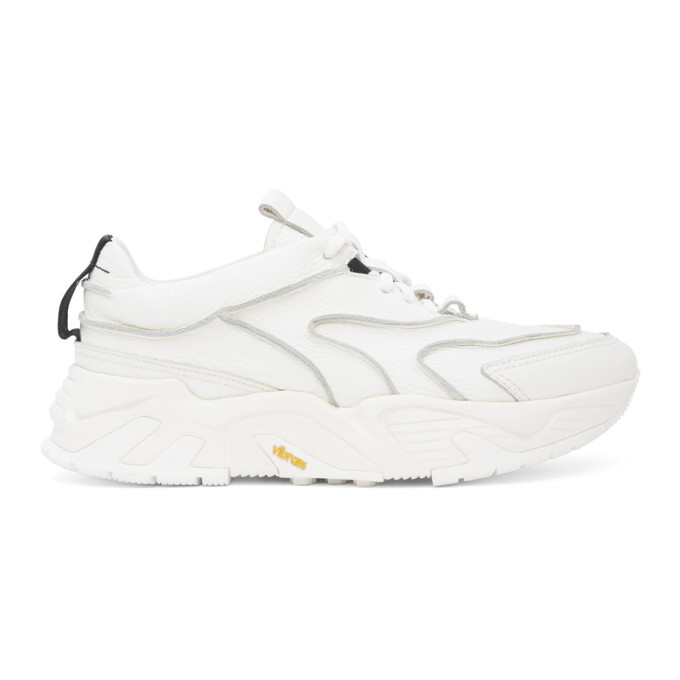 Photo: Solid Homme White Leather Low-Top Sneakers