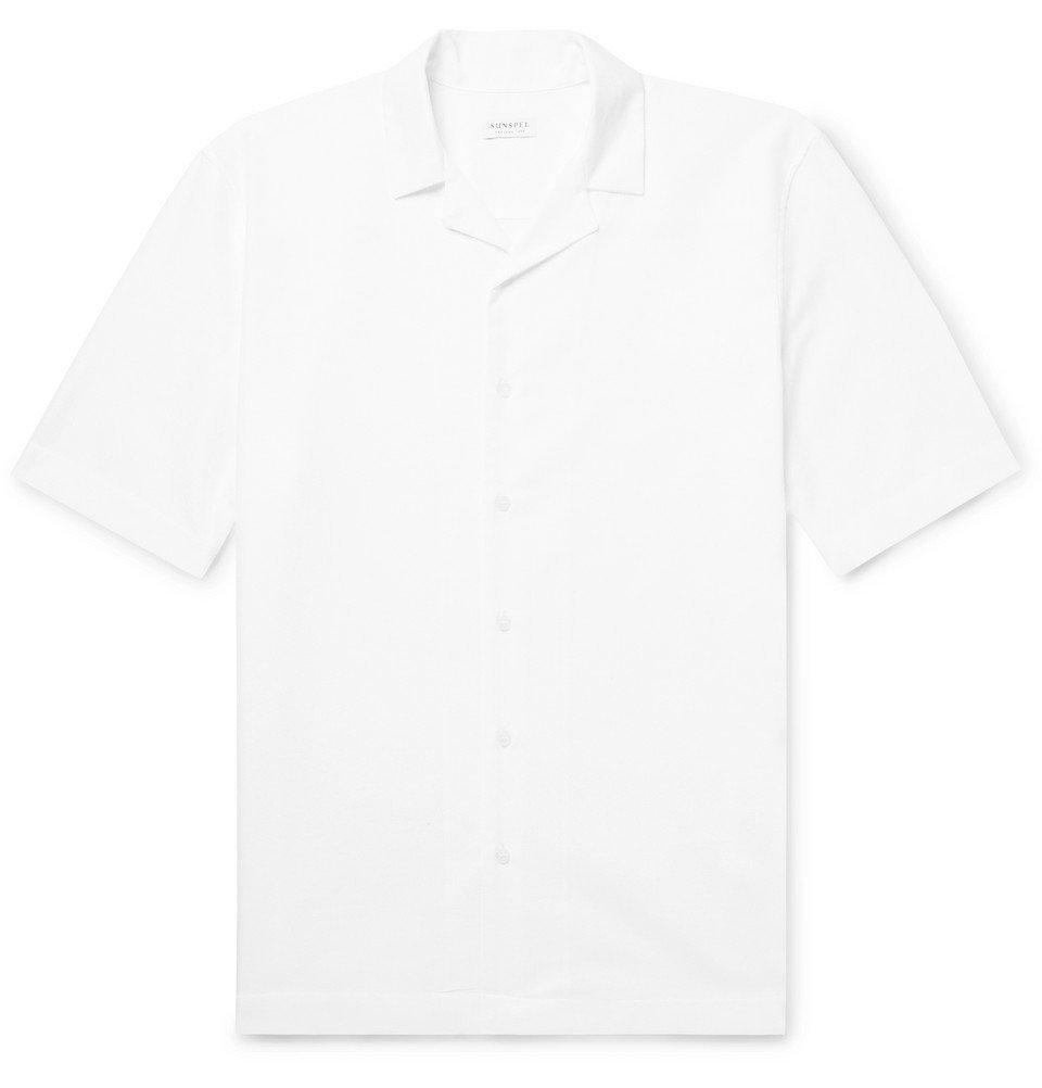 Sunspel - Camp-Collar Textured-Cotton Shirt - White