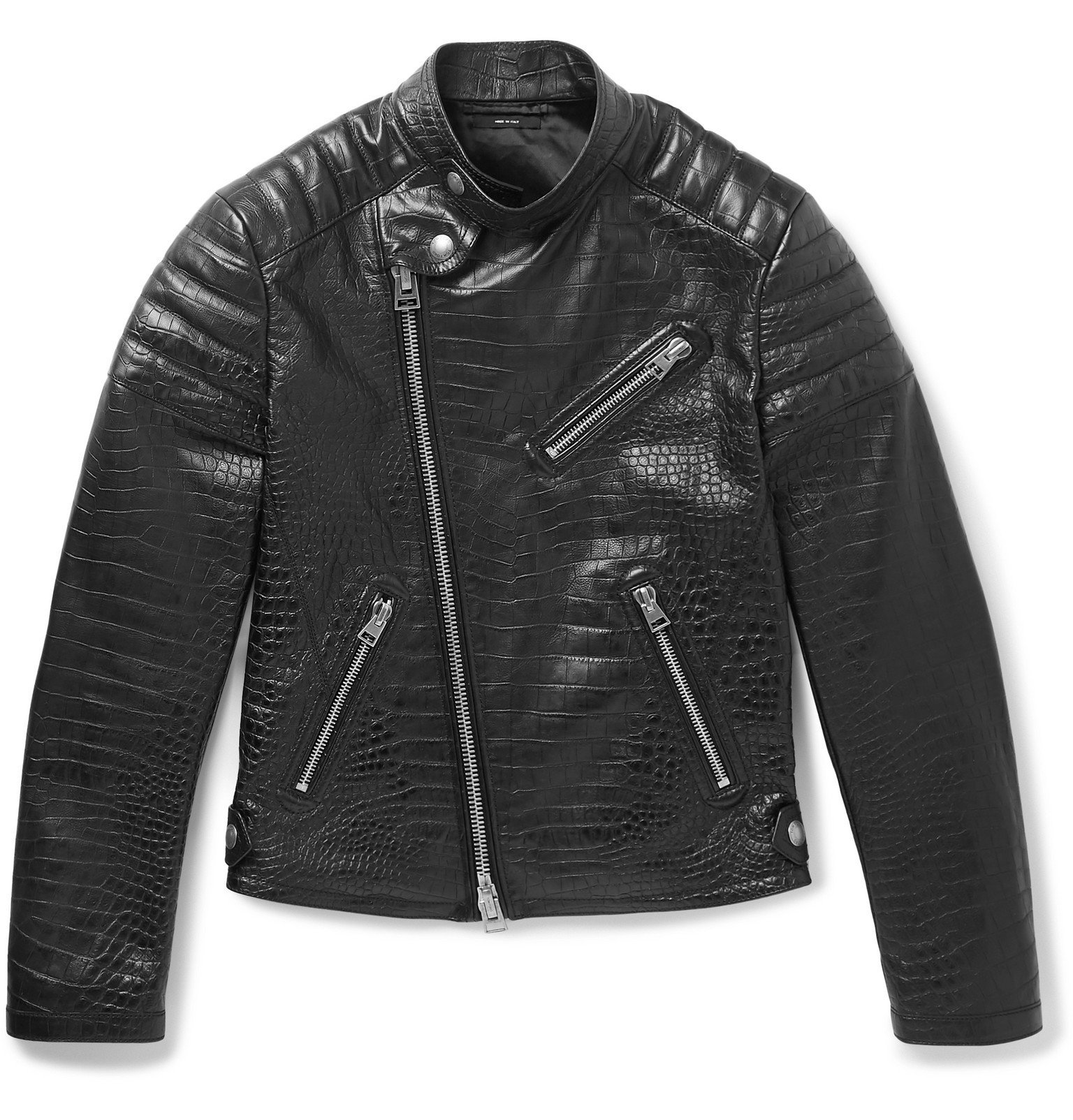 Photo: TOM FORD - Slim-Fit Croc-Effect Leather Biker Jacket - Black