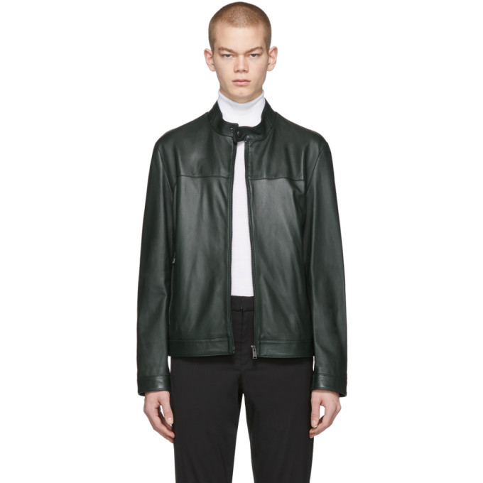 Photo: Boss Green Leather Regular Fit Jacket