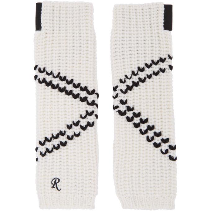 Photo: Raf Simons White Long Crossed Striped Fingerless Gloves