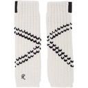 Raf Simons White Long Crossed Striped Fingerless Gloves