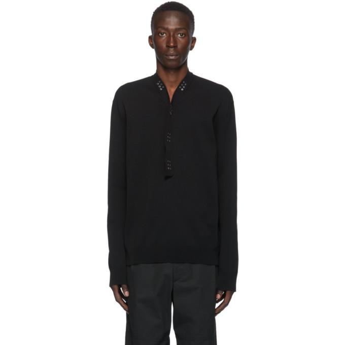 Photo: Bottega Veneta Black Cotton Studded Polo