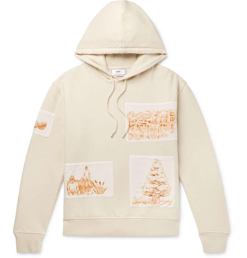 Photo: AMI - Appliquéd Fleece-Back Cotton-Jersey Hoodie - Cream