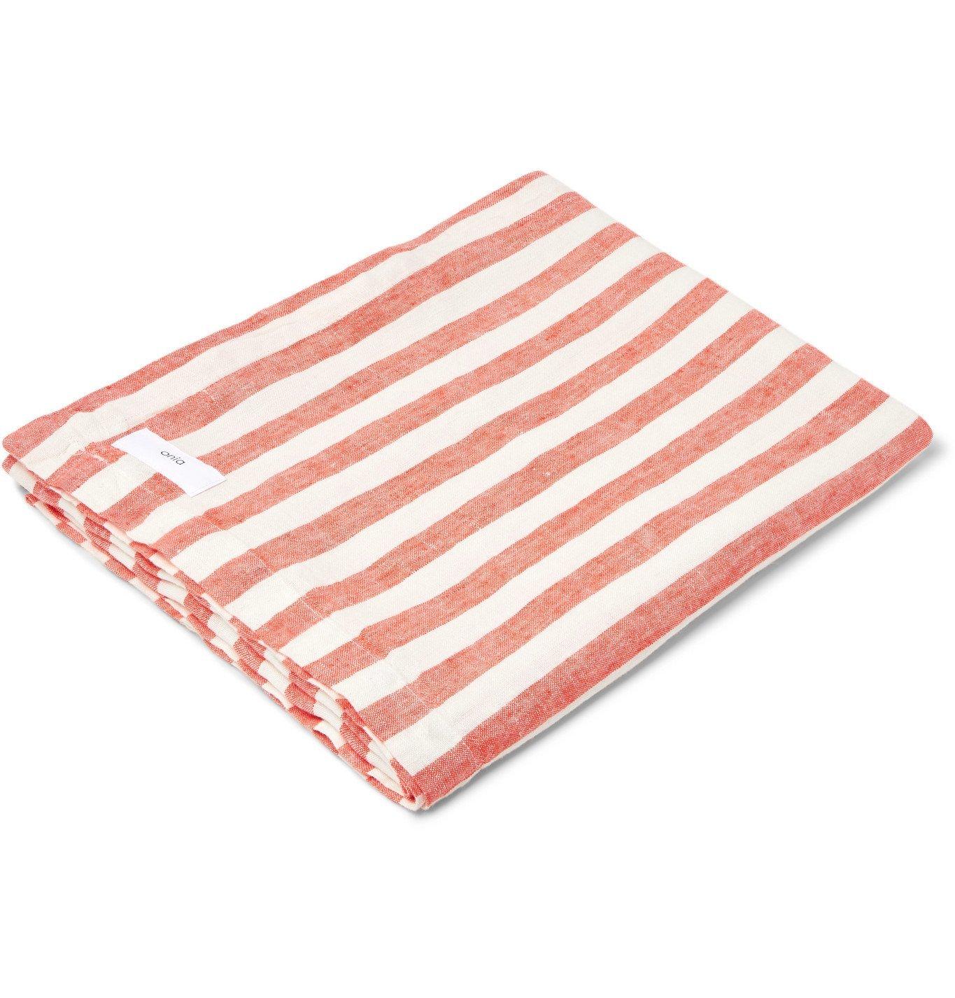 Photo: Onia - Striped Linen Beach Blanket - White