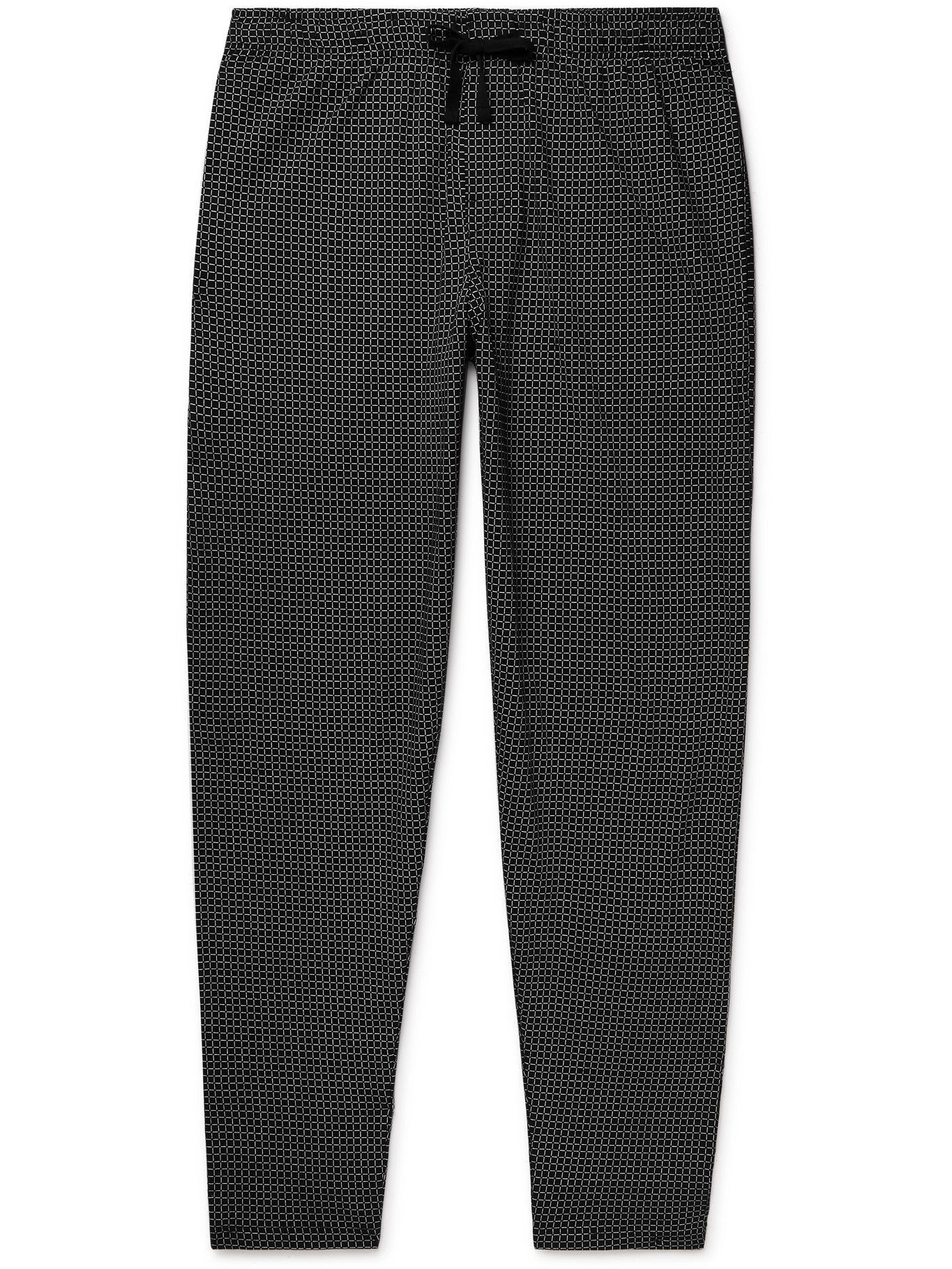 Photo: Schiesser - Josef Checked Cotton-Jersey Pyjama Trousers - Black