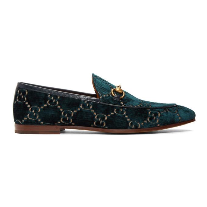 Photo: Gucci Navy Velvet GG Jordaan Loafers