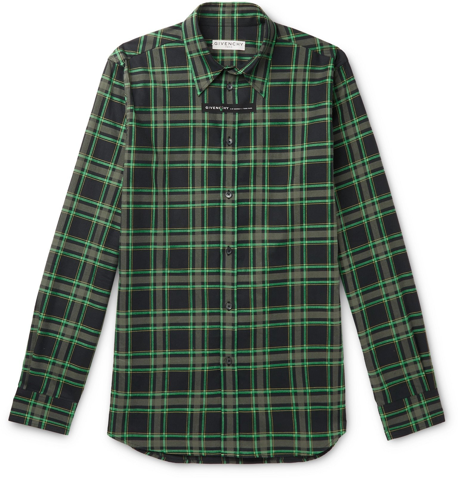 Photo: Givenchy - Slim-Fit Checked Cotton-Flannel Shirt - Green